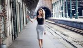 Fashionable Girl Posing On Railway