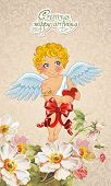 foto of little angel  - Vector illustration angel with heart - JPG