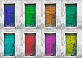 Collection of colored doors