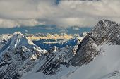 Dramatic Snow Capped Mountain Peaks In The German Alps