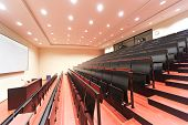 JENA, GERMANY - MAY, 08, 2011: empty lecture hall in a University in ABBE Center of Photonics (ACP)