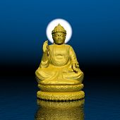 foto of halo  - One golden buddha with white halo around the head meditating on water by beautiful night - JPG