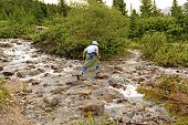 Rock Hopping On A Mountain Stream