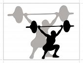 picture of weight-lifting  - Man lifting weights as symbol of sport - JPG