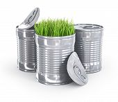 grass in a metal can