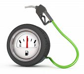 image of free-trade  - illustration of a dripping gas pump nozzle with wheel like gaz station - JPG