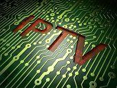 SEO web design concept: IPTV on circuit board background