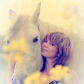image of horse face  - Portrait of a pretty girl cuddling her white horse - JPG