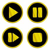Gold Play, Pause, Stop, Forward Buttons