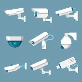 stock photo of cctv  - 24 hours security surveillance camera or CCTV icons set white on color background isolated vector illustration - JPG