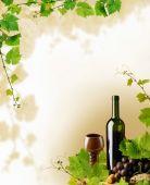 Постер, плакат: Красное вино и виноград граница
