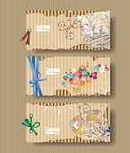 Corrugated cardboard with drawn flowers. Card