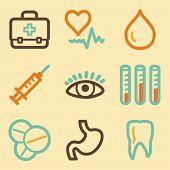 Medicine web icons set in retro style