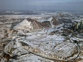 Snow-covered slagheap (aerial view).