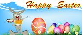 stock photo of duck egg blue  - Happy Rabbit and Easter Eggs - JPG