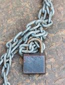 Black Lock Chain Fastens Metal Industrial Box