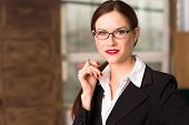 Business Woman Female Holds Pen Taking Dictation Office Workplace