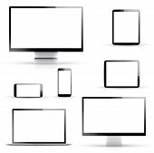 Electronic vector devices, laptop, tablet, smartphone and computer displays isolated on white backgr