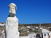 Stone Sculpure In Delos,mykonos,greece