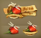 Dragonfly and rose, retro vector icon