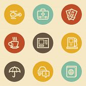 Travel web icon set 4, retro circle buttons