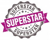 stock photo of superstars  - Superstar violet grunge retro style isolated seal - JPG