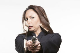 stock photo of pest control  - portrait expressive woman isolated background mouse huntin - JPG