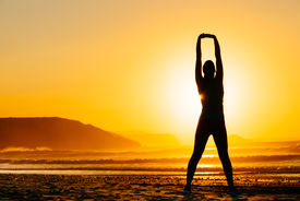 picture of breathing exercise  - Female doing relaxing yoga and breathing exercises - JPG