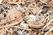 picture of scrap-iron  - scrap iron unused rubble remnant of iron texture background - JPG