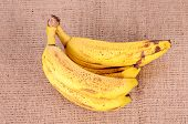 Over Ripe Banana On Sackcloth Background