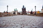 Empty Charles Bridge In Prague In The Morning; Czech Republic.