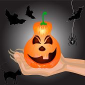 Terrible Pumpkin On A Hand At Witch