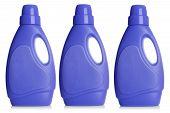 Plastic detergent bottles, isolated on white background