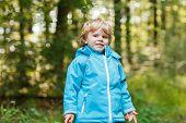 Portrait Of Blond Little Toddler  Boy In Blue Waterproof Raincoat In Autumn Forest