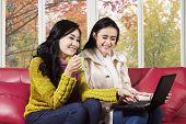 Joyful Women Using Laptop On Sofa
