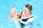 Happy Young Woman And A Cute Baby Boy Having Fun In A Swimming Pool