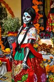 Puebla, Mexico - October 31St, 2013 : Woman Disguised For Dia De Los Muertos