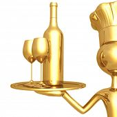 Golden Chef Serving Wine