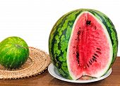 The Ripe Cut Water-melon On A White Background.
