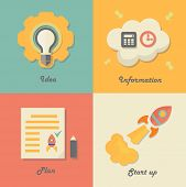 Set of start up icons for new business, ideas, innovation and development.