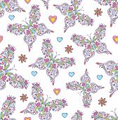 Pattern With Abstract Floral Butterflies