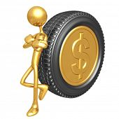 Gold Dollar Coin Tire