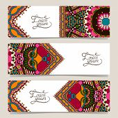 Set of three horizontal banners with decorative ornamental flowers