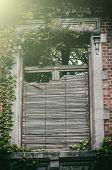 Old Window With Broken Wooden Shutters