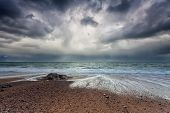 Stormy Sky Over Atlantic Ocean Coast