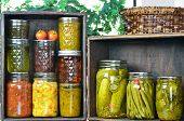 Jars of preserved food