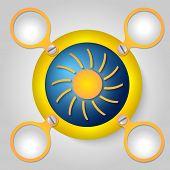 Yellow Circular Frame For Text And Sun