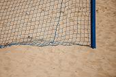 Football Summer Sport. Goal Net On A Sandy Beach