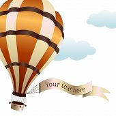 Vector illustration of hot air balloon on the sky
