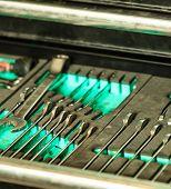 Assortment Kit Of Metallic Tools In Car Service